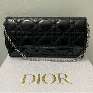 Dior Short Chain Wallet Cannage Quilt Patent